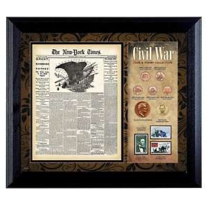 Civil War Framed Coin and Stamp Collection