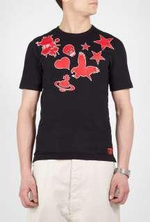 Vivienne Westwood  Black Eagle Orb Star Print T Shirt by Vivienne