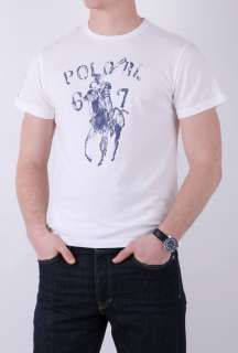 White Large Painted Player Print T Shirt by Polo Ralph Lauren   White