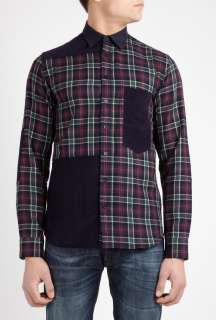 Navy Tartan and Cord Patch Shirt by B Store   Navy   Buy Shirts Online