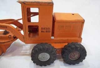 Orange Tonka Road Grader, Diesel, No. 600, Solid Tires