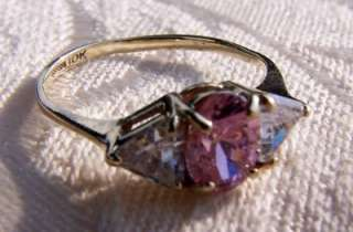 10 K GOLD PINK WHITE TOPAZ EMERALD TRILLIAN CUT RING 5