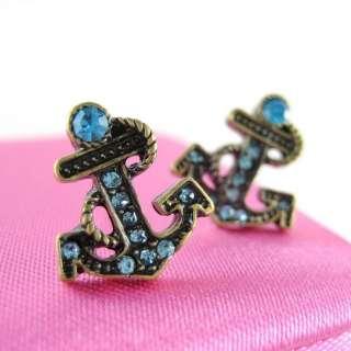 NWT Betsey Johnson Blue Crystal Anchor Earrings Stud253