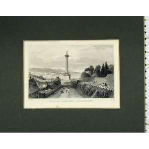 C1850 Antique Print View WalkerS Monument Londonderry