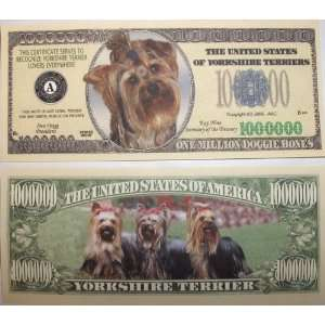 Set of 10 Bills Yorkshire Terrier Million Dollar Bill Toys & Games