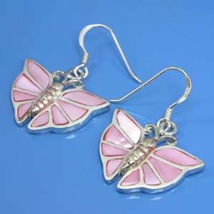 8.53 grams 925 Sterling Silver Inlaid Pink Pearl Butterfly