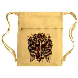 Messenger Bag Sack Pack Yellow Cross Angel Wings