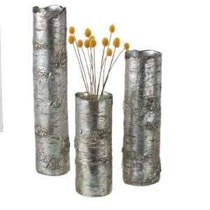 Antique Silver Branch Vase (Set of 3) Polyresin