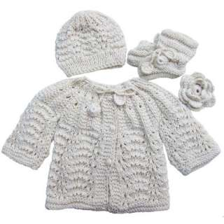 Handmade Newborn Baby Sweater and Hat Set   Natural (100%