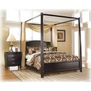 Averille Dark Brown King Canopy/Poster Bed Averille Dark