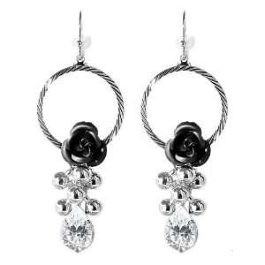 Perfect Gift   High Quality Elegant Black Rose Earrings with Crystals