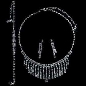 Tone Rhinestone Bridal Necklace Earrings Bracelet 3 pcs Set Jewelry