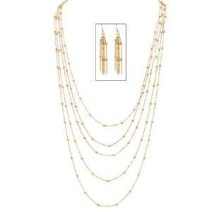 Gold Tone Multi Chain Beaded Station Necklace and Pierced Earring Set