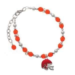 Small Red Football Helmet Orange Czech Glass Beaded Charm Bracelet