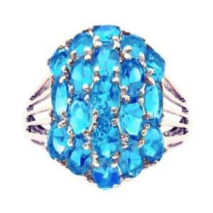 White Gold Oval Gemstone Cluster Cocktail Ring Swiss Blue Topaz, size7