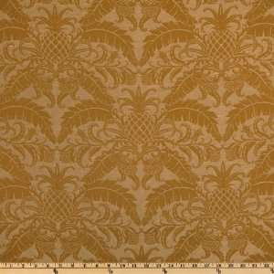 54 Wide Jacquard Royal Pineapple Gold Fabric By The Yard