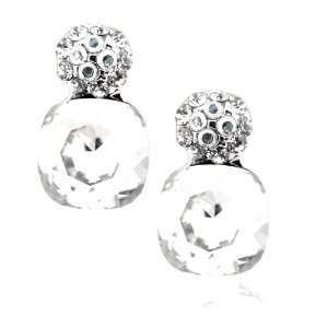 Plated Swarovski Crystal Drop Earrings Clear Color