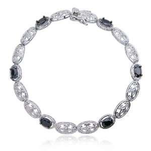 Silver Black Cubic Zirconia and Diamond Oval Bracelet, 7.25 Jewelry
