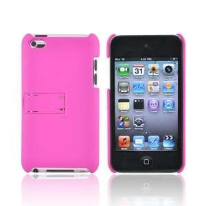 HOT PINK For iPod Touch 4 Rubber Hard Case Cover Stand