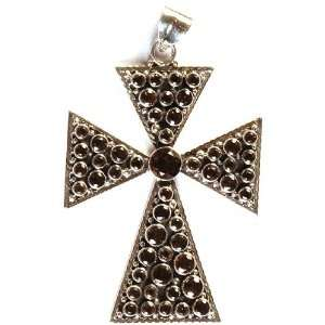 Faceted Smoky Quartz Cross Pendant   Sterling Silver