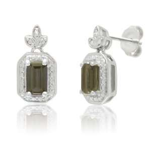 Silver Smoky Quartz Topaz and White Diamond Stud Earrings Jewelry