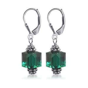 Sterling Silver Cute 9mm Emerald Crystal Earrings Made with Swarovski