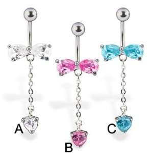 Belly button ring with bow and dangling heart, clear   A