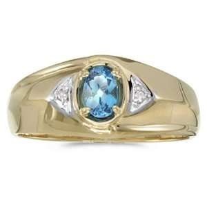 Yellow gold December Birthstone Oval Blue Topaz And Diamond Gents Ring