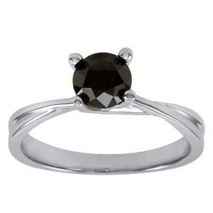 10k White Gold Black Diamond Solitaire Ring (1 cttw), Size 7 Jewelry