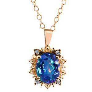 Millenium Blue Mystic Quartz and Diamond Gold Plated Silver Pendant