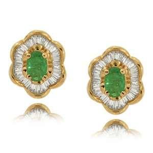 Green Emerald Earrings in 14 Karat Yellow Gold   Flower Jewelry