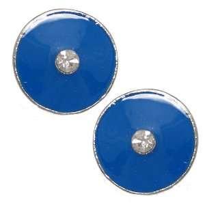 Groovy Silver Blue Crystal Clip On Earrings Jewelry