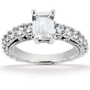 Emerald Cut Diamond Engagement Ring in Platinum Jewelry