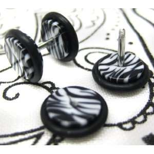 16G Fake Ear Plugs 0G Ear Cheater Black & White Zebra