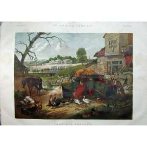 1859 Colour Print Farm Train Chickens Horse Ducks Car