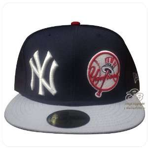 Yankees Navy Blue White Grey Visor Fitted Cap Hat 7 1/4 Sports