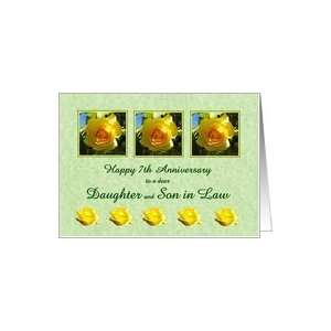 Happy 7th Anniversary Daughter and Son in Law   Yellow Rose Flowers