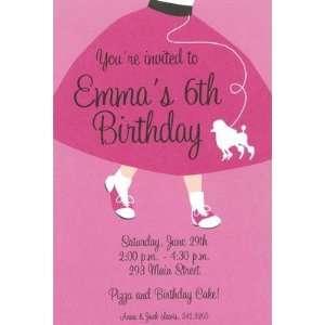 Poodle Skirt, Custom Personalized Girl Birthday Invitation