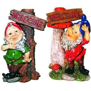 Gnomes With Welcome Signs Figurines 10 2 pc Set