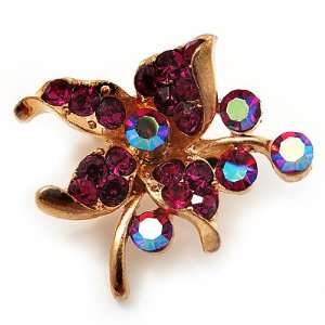 Tiny Magenta Crystal Flower Pin Brooch (Gold Tone) Jewelry