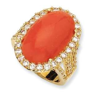 Gold plated Sterling Silver Simulated Red Coral Cabochon & CZ Ring