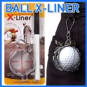 Metallic golf ball Alignment Tool liner and holder w/ pen