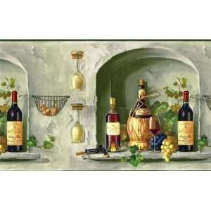 WINE,BOTTLES,GLASS,GRAPE Prepasted Decorative Wallpaper Border