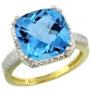10k Gold ( 11 mm ) Large Stone Engagement Swiss Blue Topaz Ring