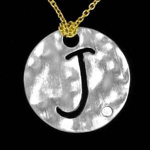 Alphabet Initial J Round Necklace Pendant with Yellow Gold Chain