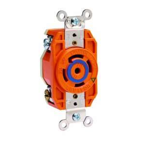 Locking Receptacle, Industrial Grade, Isolated Ground, V 0 Max, Orange