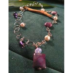 Jade & Pearl Silver Loop Necklace