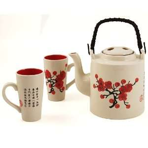 White Glazed Asian Cherry Blossom 5 Piece Tea Set