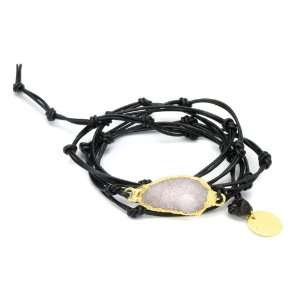 Endurance Black Leather Wrap Bracelet with White Druzy Crystal