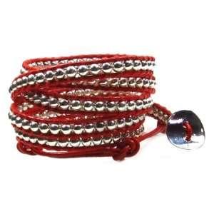 Beaded Red Leather Wrap Bracelet, Wraps Wrist 5 to 6 Times Jewelry